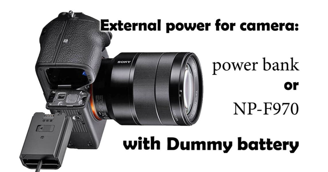 External power for camera with power bank through dummy battery - header of photographer's blog